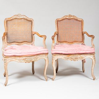 Pair of Louis XV Style Painted and Caned Fauteuils à la Reine