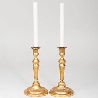 Pair of Louis XVI Style Ormolu Candlestick Lamps