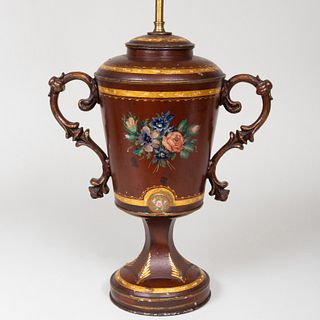 English Painted Tôle Urn Mounted as a Lamp