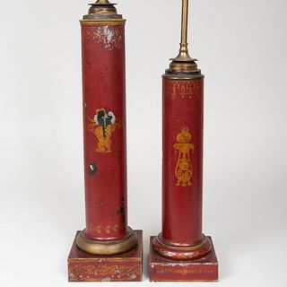 Two Tôle Painted Columnar Lamps