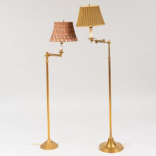 Two Retractable Brass Floor Lamps
