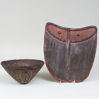 Ethnographic Painted Pottery Bowl and a Painted Wood Shield