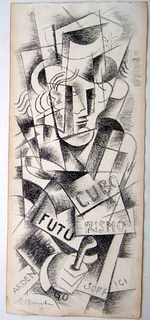 Russian cubist Fig, Popova,  graphite on paper signed