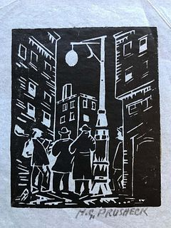 City Scene, Woodcut by  Harvey Pruschek, Early Ohio Modernist