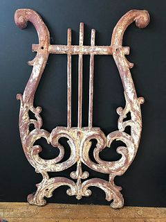 Antique Cast Iron Harp Wall Piece Architectural Old Stunning Great Color