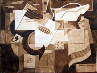 Still Life with Guitar, Gouache on Paper, Louis Marcoussis
