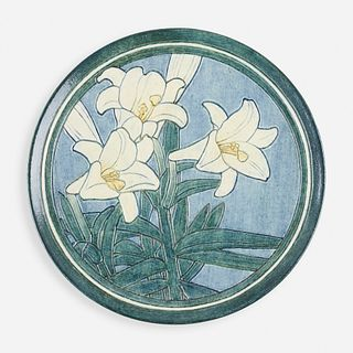 Henrietta Bailey for Newcomb College Pottery, Early wall-hanging charger with lilies
