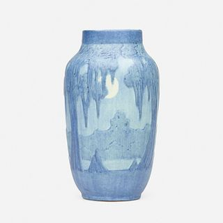 Anna Frances Simpson for Newcomb College Pottery, Scenic vase with full moon