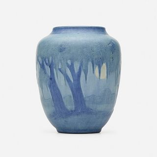 Anna Frances Simpson for Newcomb College Pottery, Vase with live oaks, Spanish moss, and full moon
