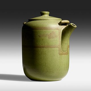 Arthur Baggs for Marblehead Pottery, Rare teapot with oak trees