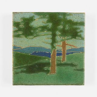 Addison Le Boutillier for Grueby Faience Company, The Pines tile