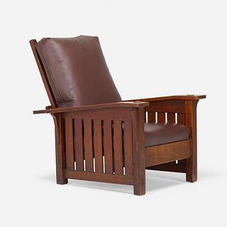 L. & J.G. Stickley, Drop-arm Morris chair, model 410
