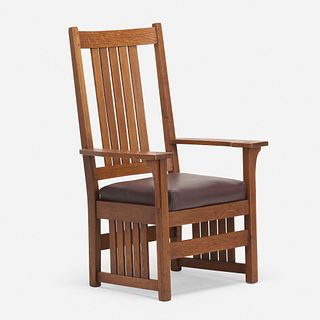 L. & J.G. Stickley, Tall-back armchair