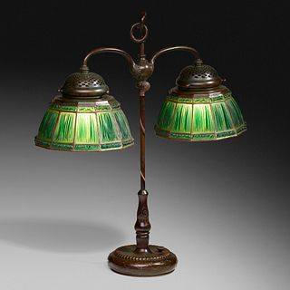 Tiffany Studios, Linenfold double student lamp
