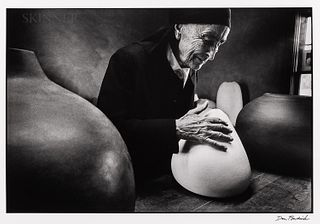 Dan Budnik (American, 1933-2020)  Georgia O'Keeffe at the Ghost Ranch with Pots by Juan Hamilton, New Mexico, 1975, printed by Joseph Jankovsky 2003.