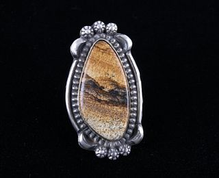 Navajo B.Lee Mountain Picture Jasper Sterling Ring