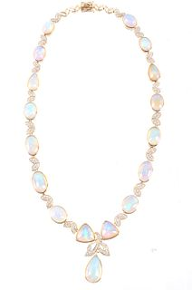 53.50 cts. Jelly Opal & Diamond 14K Necklace