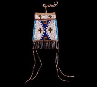 Ute Indians Fully Beaded Strike-A-Lite Bag 1900s-