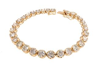 16.56ct Diamond 14K Bracelet w/ AIG $80K Appraisal