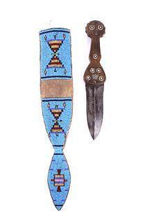 American Indian Dag Knife & Beaded Sheath c1850-60