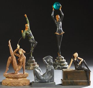 Group of Five Art Deco Dancing Figures, 20th c., one a woman with a hoop, on a stepped marble base; one with a glass ball, on a stepped marble base; o