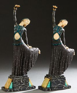 "In the Manner of Demetre Chiparus (1886-1957, Romanian), ""Dancers,"" 20th c., pair of metal and resin statues on stepped multicolored marble geometric"