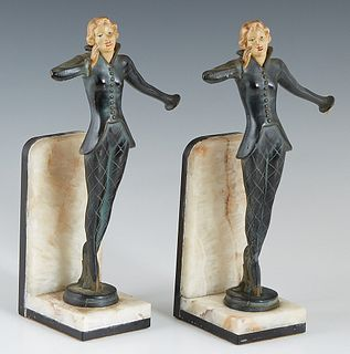 "Continental School, ""Female Dancers,"" c. 1940, pair of patinated spelter figural bookends, on onyx and marble stands, H.- 8 1/2 in., W.- 4 1/2 in., D."