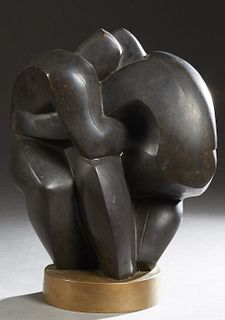 "American School, ""An Entwined Nude Couple,"" 20th c., patinated bronze brutalist figure, on an integral circular bronze base, H.- 19 1/2 in., W.- 15 1/"