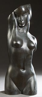 "American School, ""Stylized Nude Female Head and Torso,"" 20th c., patinated bronze, unsigned, H.- 32 in., W.- 13 in., D.- 10 in. Provenance: from the E"