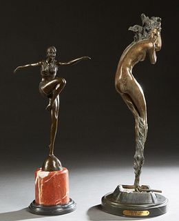 "After Johan Ferdinand Preis (1882-1943), ""Female Deco Dancer,"" late 20th c., patinated bronze #A7255, with a button mark ""J. B. Deposee Bronze Garanti"