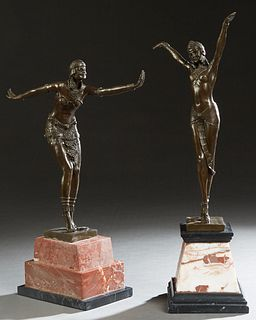 "After Demetre H. Chiparus (1886-1947 Romanian), ""Egyptian Dancer,"" and ""Art Deco Flapper,"" two patinated bronzes, one on a stepped pink marble base; t"