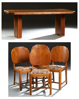 English Carved Walnut Art Deco Dining Set, c. 1940, consisting of an octagonal table on plinth supports, and four carved walnut side chairs with flori