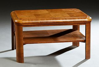 English Art Deco Carved Walnut Coffee Table, c. 1940, the stepped rounded corner and edge top over four curved legs, joined by a lower shelf, H.- 17 i