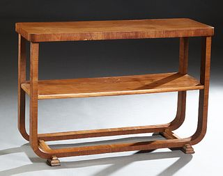 English Art Deco Carved Walnut Server, c. 1940, the rounded corner top on curved legs, joined by a center shelf and lower stretchers, on two stepped g
