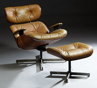 Plycraft Eames Style Bentwood Armchair and Ottoman, mid 20th c., with stainless steel bases with button-tufted brown vinyl upholstery, Chair- H.- 32 1