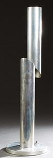 Mid-Century Modern Table Lamp, 20th c, in the manner of Nanda Vigo, composed of two aluminum tubes staggered in height, containing one bulb each, on a