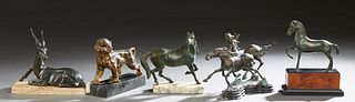 Group of Five Spelter Animalier Figures, 20th c., consisting of two patinated horses on a stepped base; a single horse on a marble and faux walnut bas