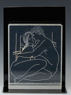 "Emile Dekel (French/Israel), ""With You, A.S.,"" 1979, engraving on lucite, presented on a smoke gray lucite stand, H.- 8 1/2 in., W.- 7 in., D.- 2 in."