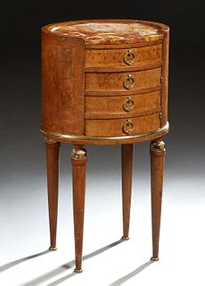 French Louis XVI Style Inlaid Carved Mahogany Nightstand, early 20th c., the inset oval Breche d'Alpes ocher marble over a frieze drawer and a faux dr