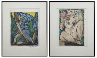 "Larry Zink (New Orleans), ""Nude"" and ""Nude with Fan,"" 1988, two pastels on paper, signed and dated lower right, presented in black metal frames, H.- 1"