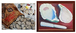"J. Frew, ""Fresh Oysters,"" 20th c., oil on canvas, signed lower right, unframed; and Roux, ""Oyster Shucking,"" 1990, oil on canvas, signed and dated ver"