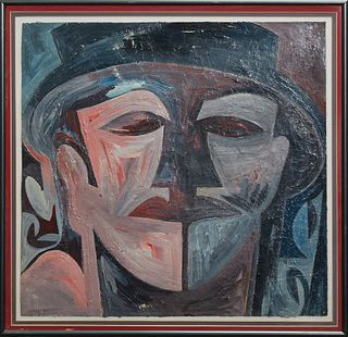 "Loulyn Carstater (1941-1998, New Orleans), ""Abstract Face,"" 20th c., oil on paper signed indistinctly lower left, presented in a grey metal frame, H.-"