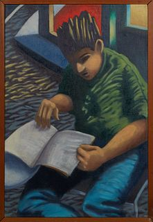"John Stennett (1948-, New Orleans), ""Portrait of a Boy Reading a Book,"" 20th c., oil on canvas, unsigned, presented in a wood frame, H.- 30 in., W.- 2"