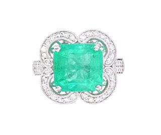 Vintage Estate Colombian Emerald VS1 Diamond Ring