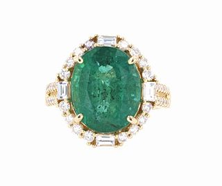 Natural 7.92ct Emerald 14K Ring - GIA & IAS Papers