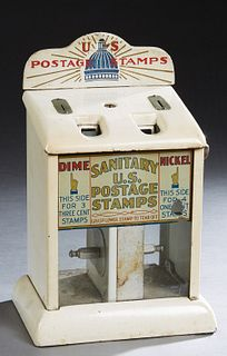 Vintage Sanitary Enamel Postage Stamp Dispenser, early 20th c., by the Northwerstern Corp., with dual dispensers for three 3 cent stamps for a dime, a