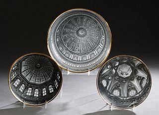 "Piero Fornasetti (1913-1988, Italian), ""Cupole d'Italia,"" c. 1960, three serigraphed circular porcelain plates, from the ""Grande Piatto Serie,"" with g"