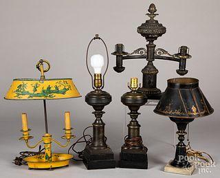 Five metal table lamps
