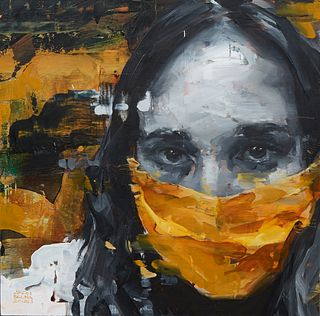 """Aron Belka (1974-, Utah/New Orleans), """"Masked,"""" 2020, oil on board, signed and dated lower left corner, titled and dated en verso, H.- 14 in., W.- 14"""