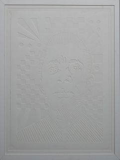 """Brent Houzenga (1983-, New Orleans), """"James Baldwin,"""" 2018, cut paper from the """"White On White"""" Series, unsigned, H.- 30 in., W.- 22 in., Framed H.- 3"""